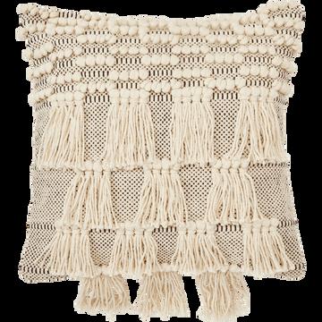 Coussin bohème en coton blanc et noir 45x45cm-TEYSSIR