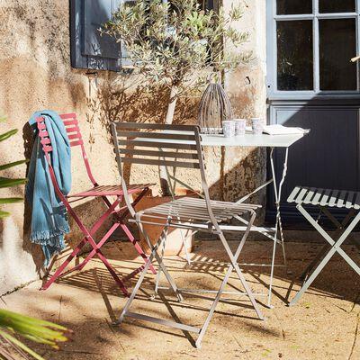 Chaise de jardin pliante taupe en acier-CERVIONE