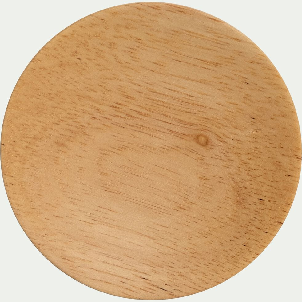 Patère ronde en hévéa - naturel D8cm-NIWA
