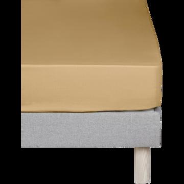 Drap housse en percale de coton Beige nèfle 160x200cm bonnet 25cm-FLORE