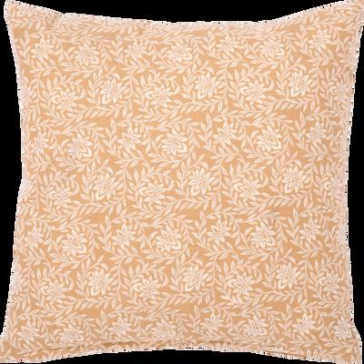 Coussin en coton motif floral beige nèfle 40x40cm-JASMIN