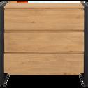 Commode 3 tiroirs pin et métal noir-ENDOUME