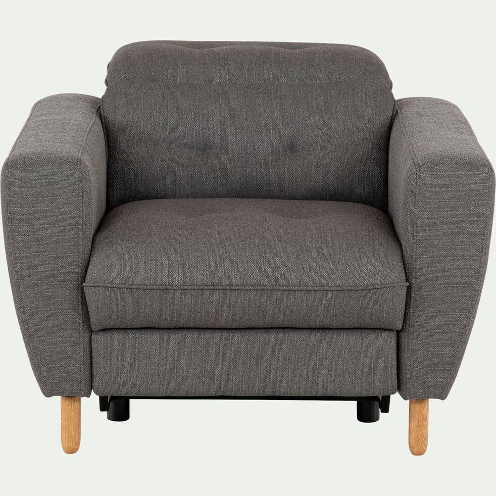 Fauteuil relax en tissu avec têtière réglable et repose pieds - gris-ODYS
