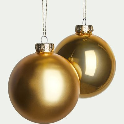 Lot de 4 boules en verre doré D10cm-Laonlan