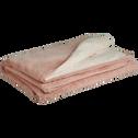 Plaid doux imitation fourrure rose argile (plusieurs tailles)-MARIUS