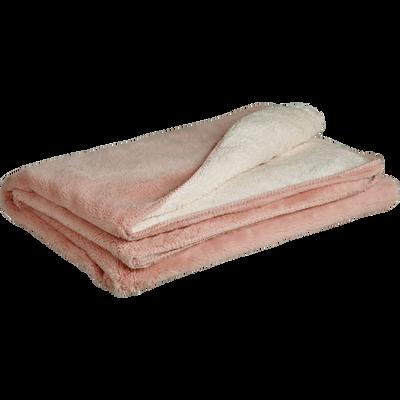 Plaid doux imitation fourrure rose argile 180x220cm-MARIUS