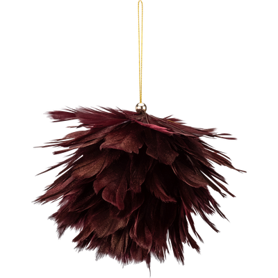 Boule de Noël en plume rouge D14cm-FANAL