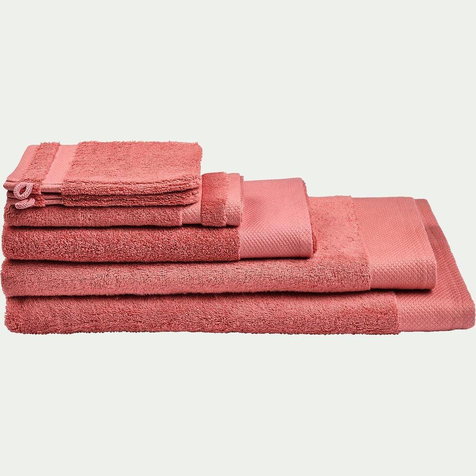 Linge de toilette en coton peigné- rouge ricin-AZUR