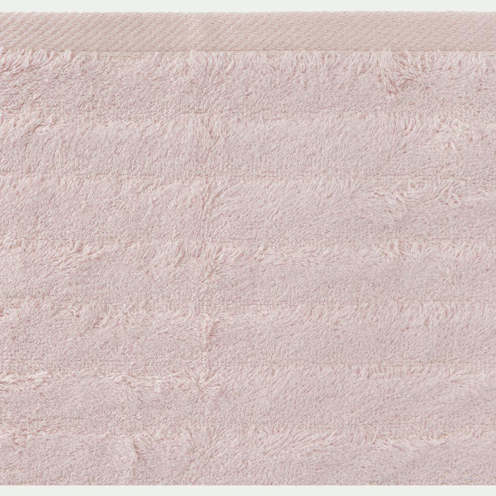 Serviette invité longues mèches en viscose et coton - rose grège 30x50cm-AUBIN