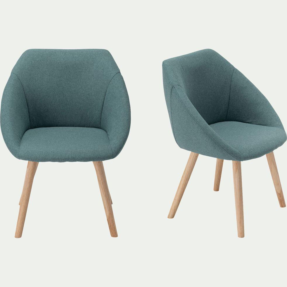 Chaise en tissu avec accoudoirs - vert cèdre-ELIA