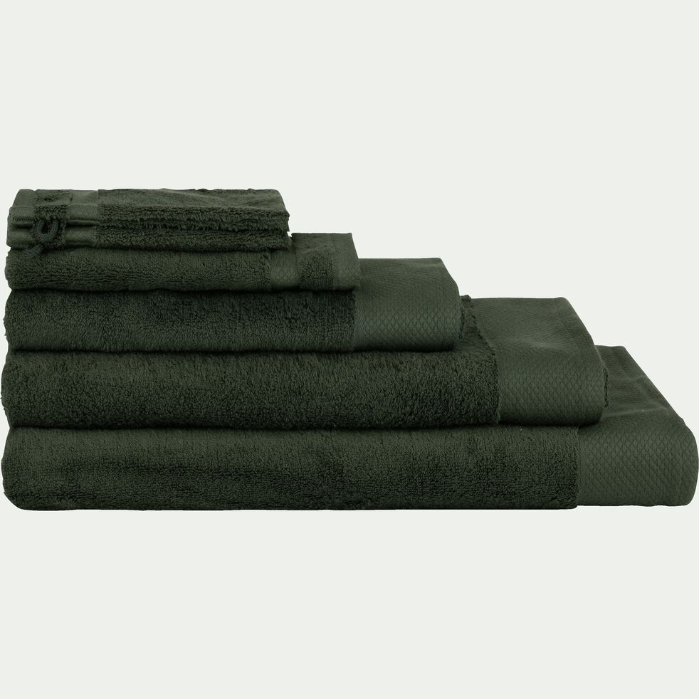 Linge de toilette en coton peigné- vert cèdre-AZUR