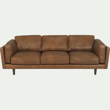Canapé 3 places fixe en cuir de vachette - marron-Brooklyn