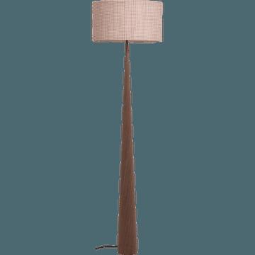 Lampadaire en métal placage bois et abat-jour coton H177cm-KONE