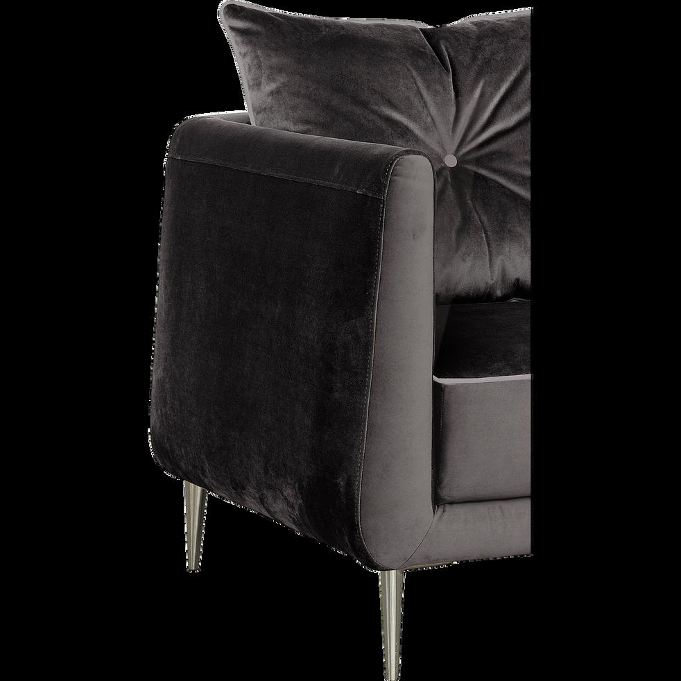 Canapé 3 places fixe en tissu noir calabrun-ASTELLO