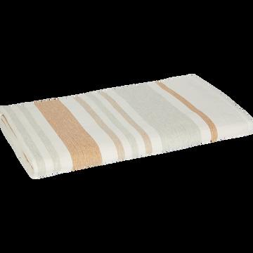 Drap de plage fouta en coton rayé écru 100x180cm-ORONTE