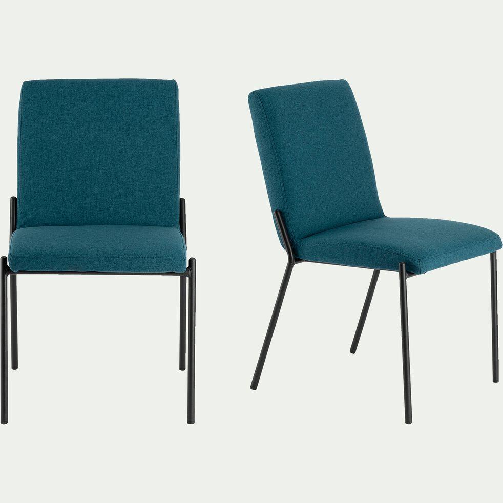 chaise en tissu bleu figuerolles pieds noirs-JASPE