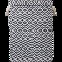 Panier à linge pliable à couvercle noir et blanc-ISY
