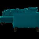 Canapé d'angle fixe gauche en tissu bleu niolon-ASTELLO