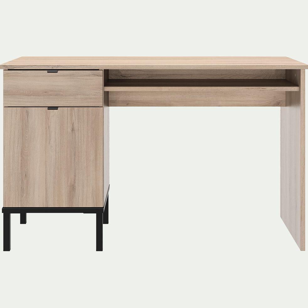 Bureau avec un tiroir et une porte finition chêne - naturel-CASTEL