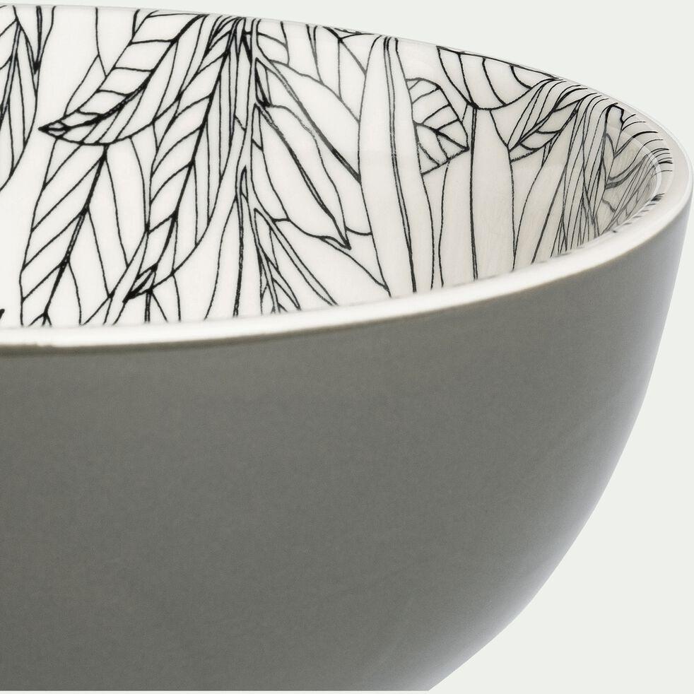 Bol en porcelaine motifs laurier - vert cèdre D15cm-AIX