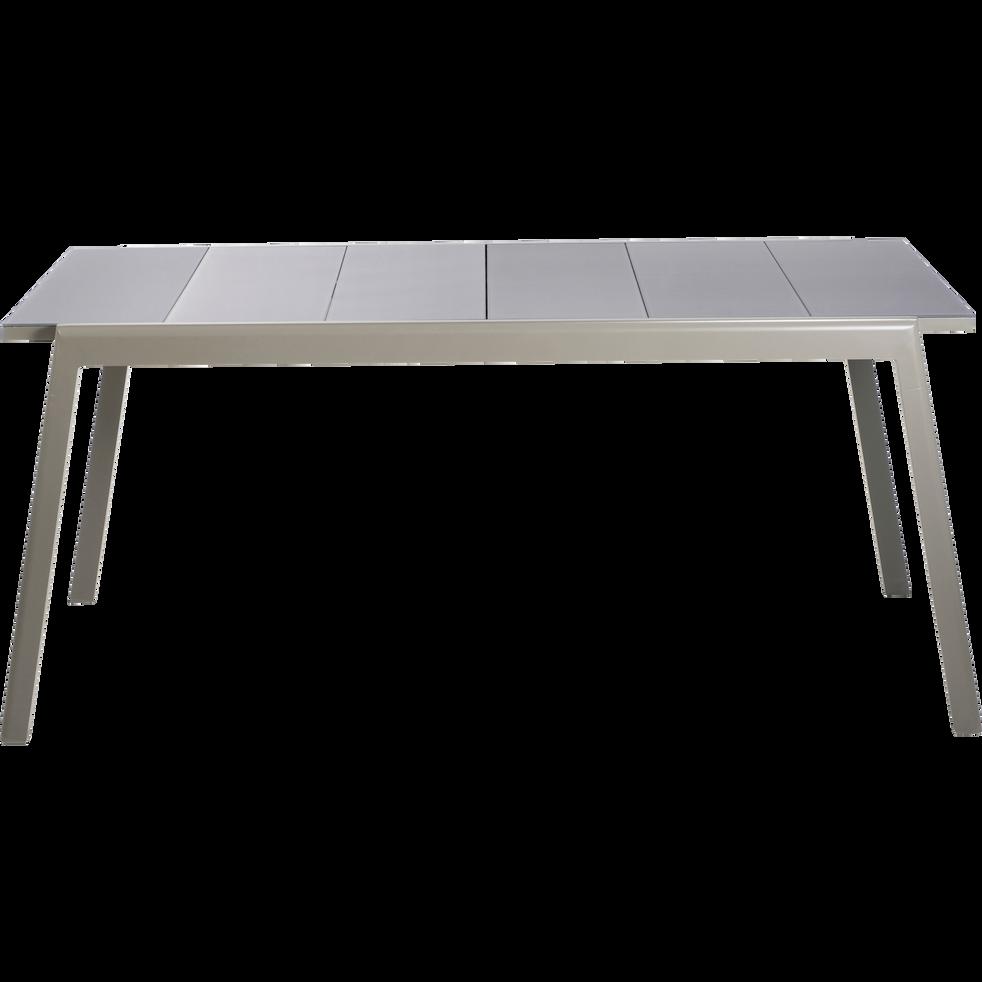 Table de jardin extensible kaki en verre trempé et aluminium (6 à 10 ...