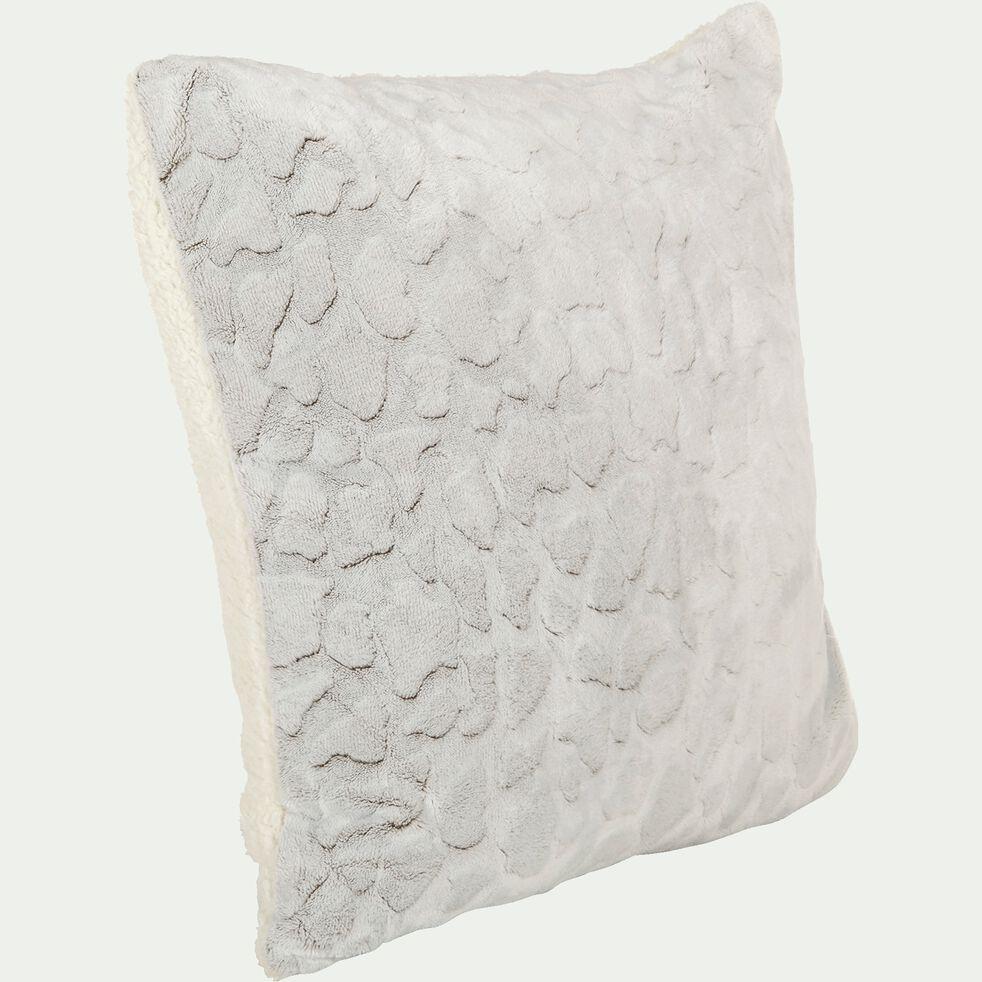 Housse de coussin imitation fourrure en polyester - gris 65x65cm-Sofy