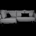 Canapé d'angle fixe gauche en tissu gris borie-SAOU