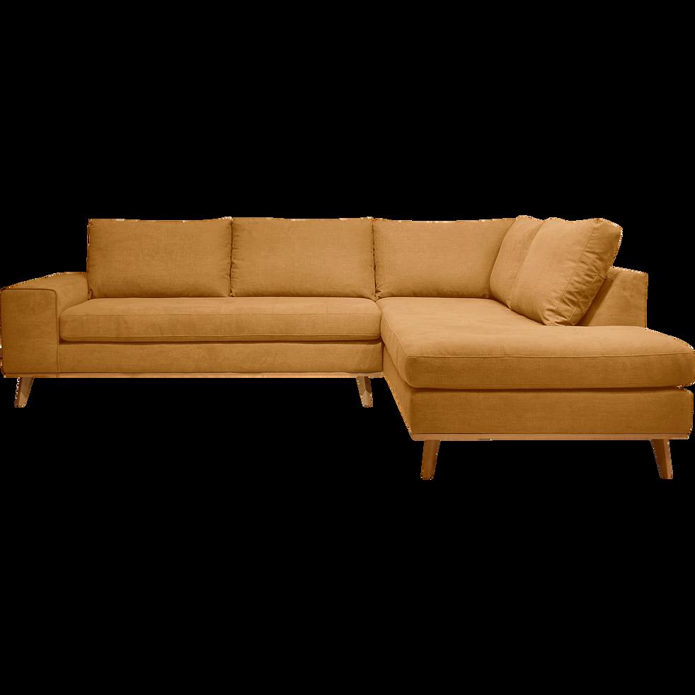 canap d 39 angle fixe droit en tissu jaune picabia canap s d 39 angle en tissu alinea. Black Bedroom Furniture Sets. Home Design Ideas