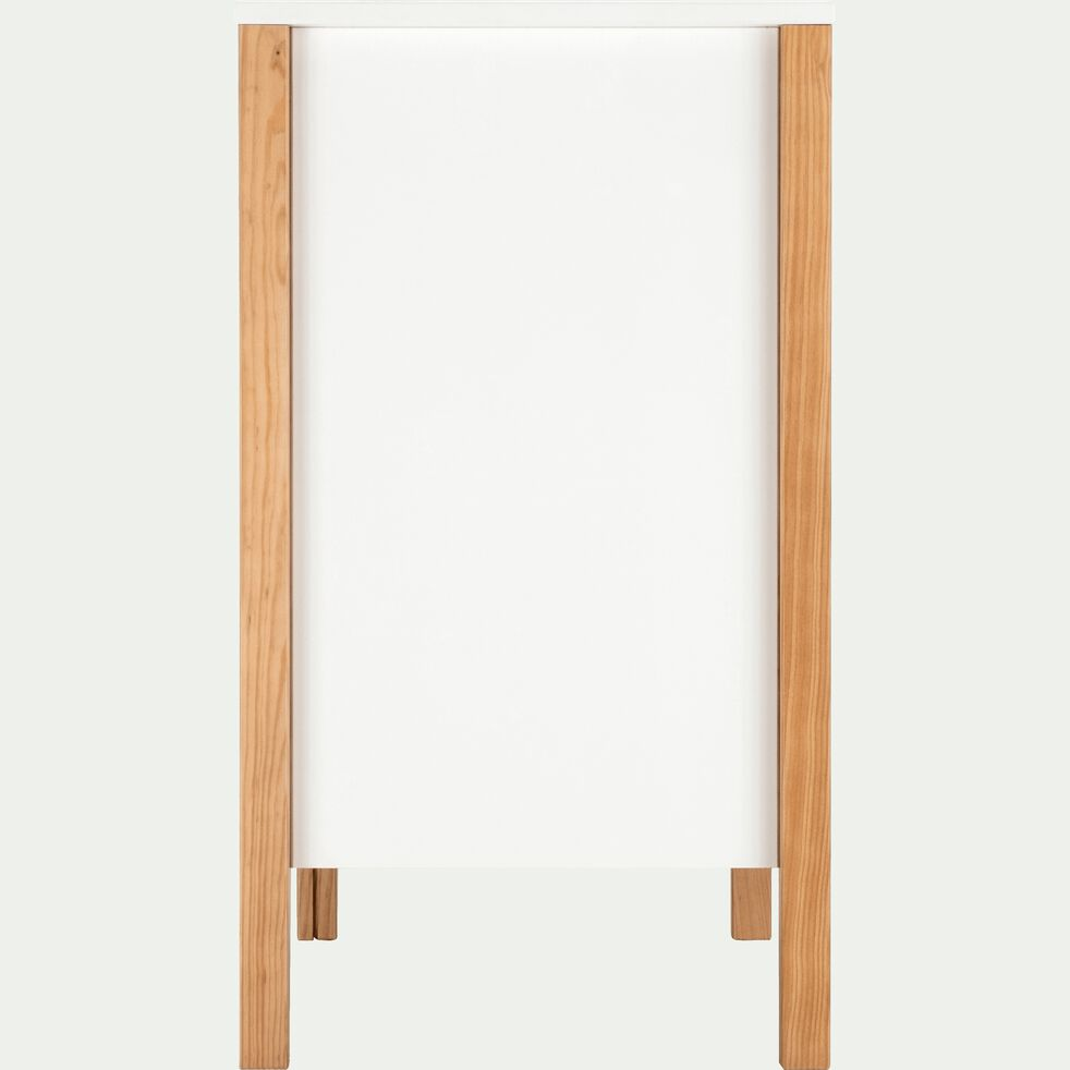 Commode pieds en pin massif blanc 2 tiroirs et 1 niche-ALOUETTE