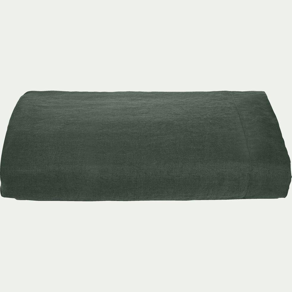 Drap plat en lin - vert cèdre 270x300cm-VENCE