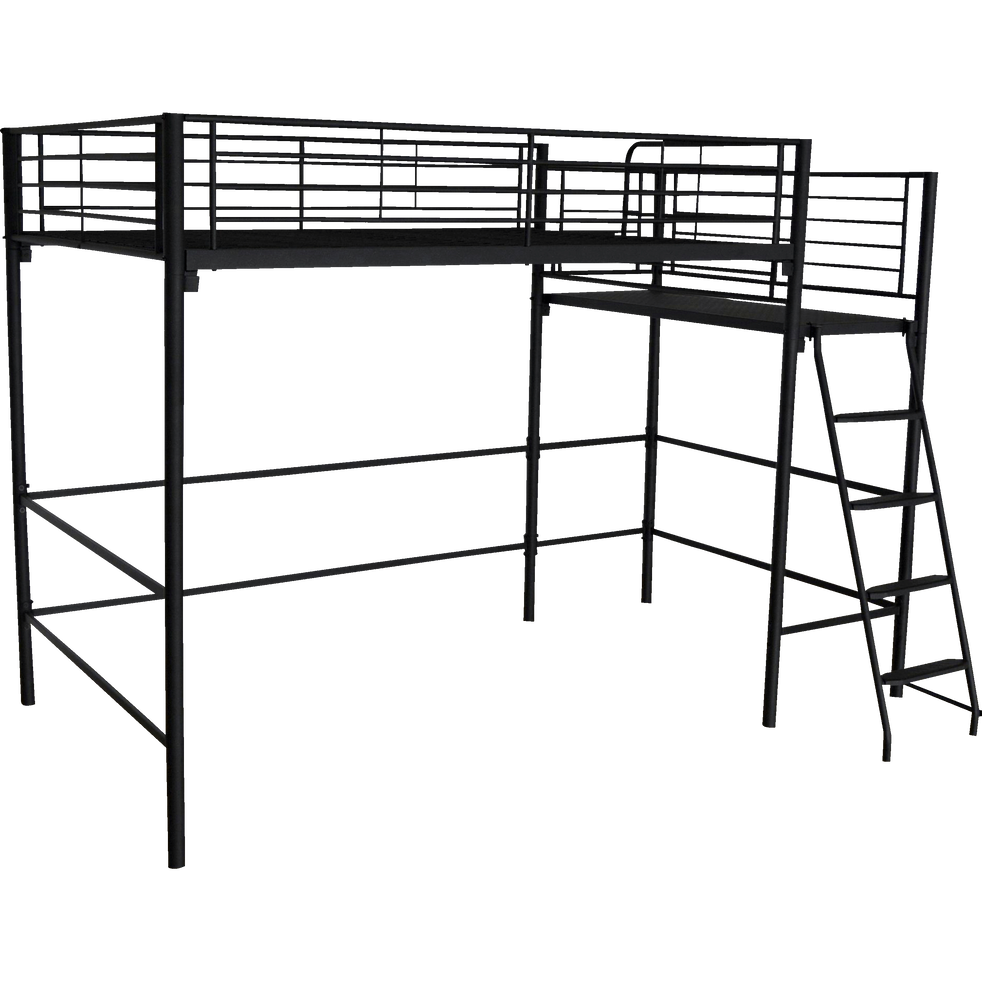 lit mezzanine 2 places en acier noir avec plateforme 140x200 cm alexy 140x200 cm. Black Bedroom Furniture Sets. Home Design Ideas