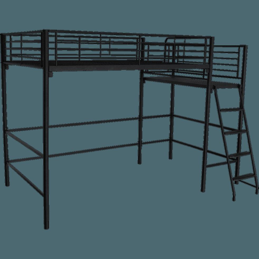 Lit Mezzanine 2 Places En Acier Noir Avec Plateforme 140x200 Cm