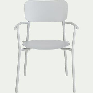 Chaise de jardin avec accoudoirs en aluminium - gris vésuve-Matias
