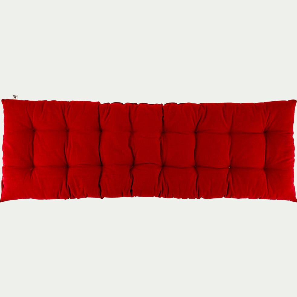 Coussin d'assise de banc matelassé en coton - rouge sumac 40x120cm-EMILIE
