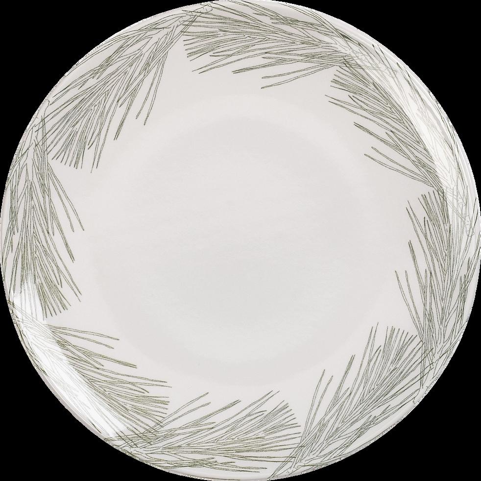 Assiette plate en grès blanc D26cm-COURONNE