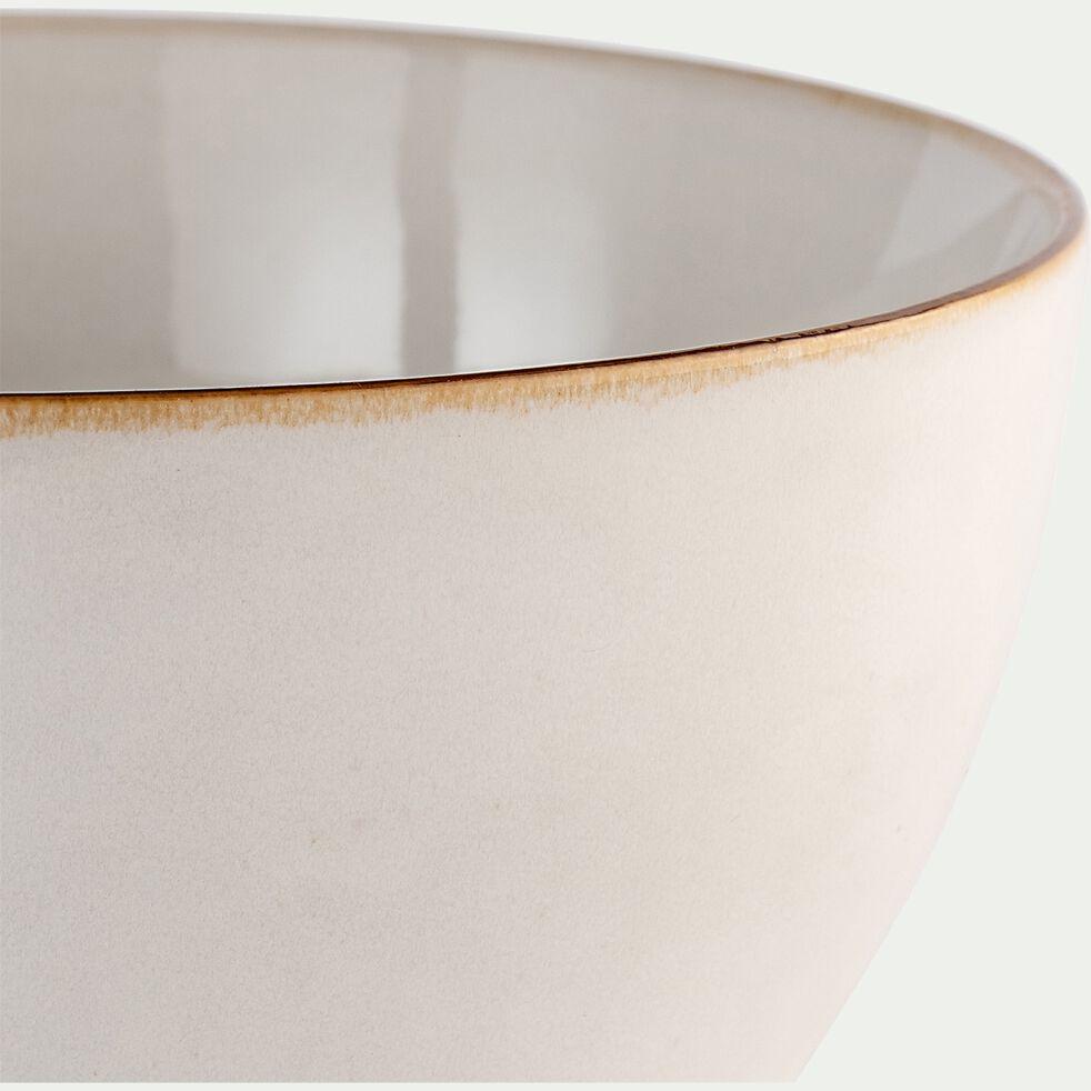 Saladier en grès - blanc avec liseré marron D20cm-NEVE
