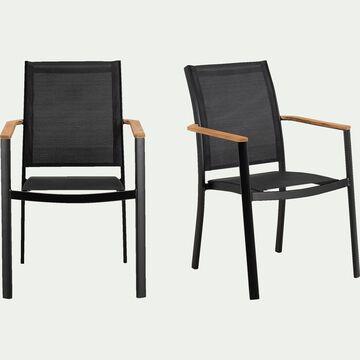 Chaise de jardin en aluminium et textilène avec accoudoirs noir-MASSIMO