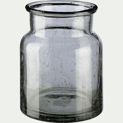 Vase en verre vert H13cm-IKARIA
