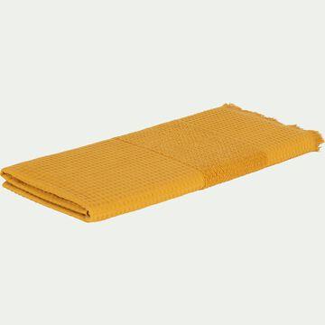 Drap de douche bouclette et nid d'abeille en coton - jaune 70x140cm-TOMAR