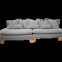 Canapé 5 places convertible en tissu gris restanque-LAMO