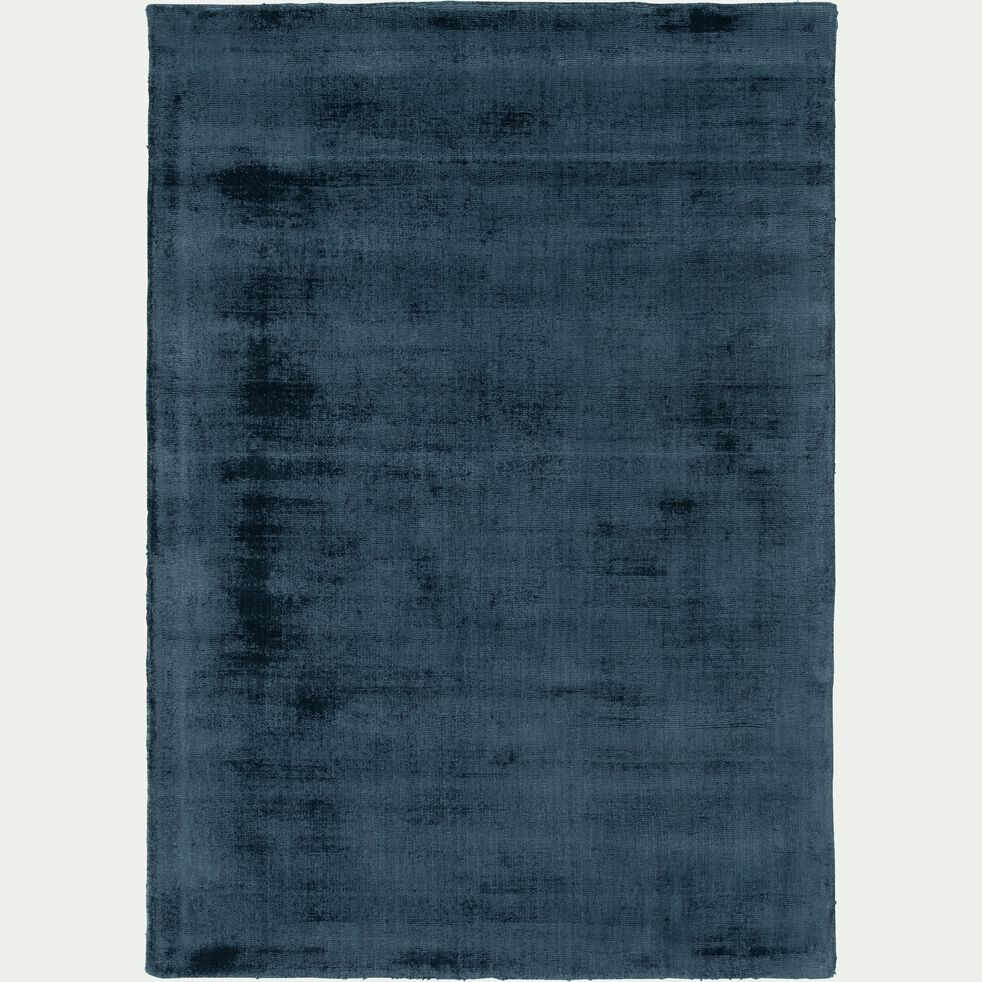 Tapis moiré en viscose - bleu figuerolles 160x230cm-EDEN