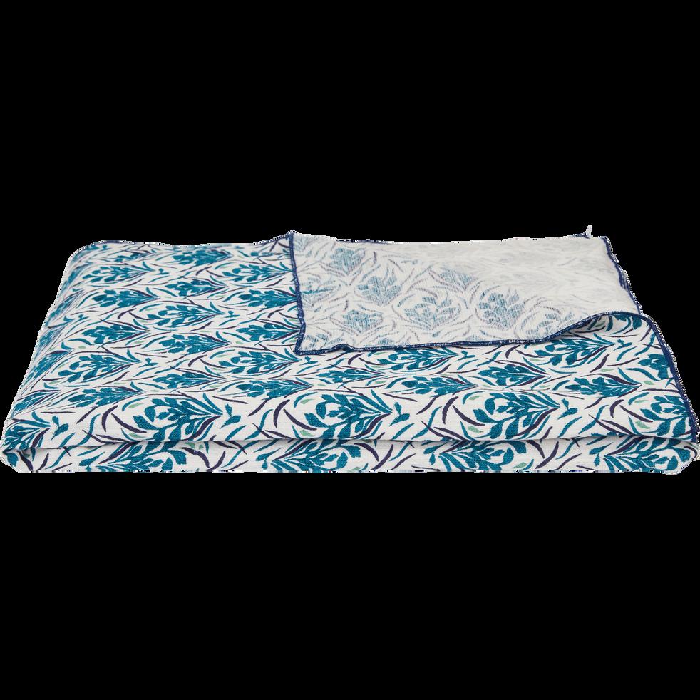 Plaid en coton motifs fleuris bleu niolon 130x170 cm-AMPHORES