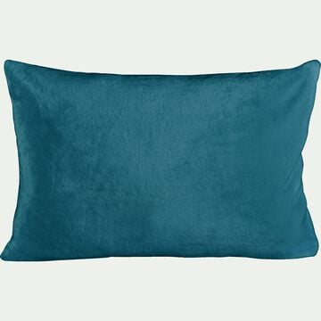 Housse de coussin effet polaire en polyester - bleu figuerolles 40x60cm-ROBIN