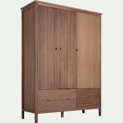 Armoire en bois 3 portes et 4 tiroirs-CRUZ