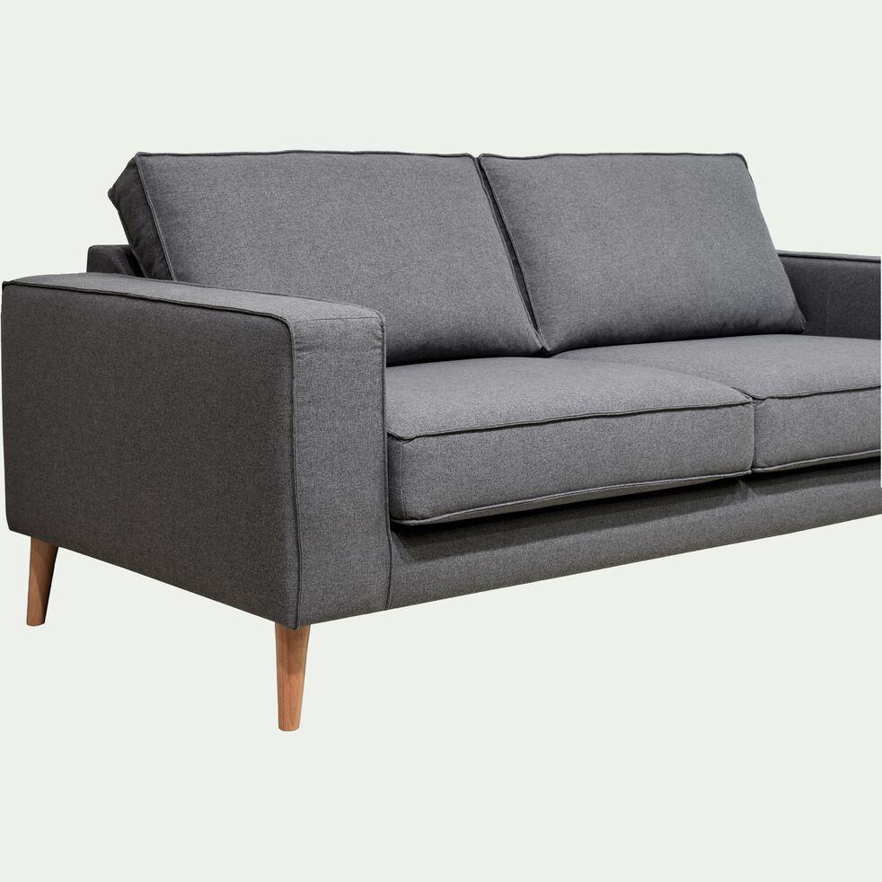 Canapé 3 places fixe pieds hauts - gris anthracite-CALIFORNIA
