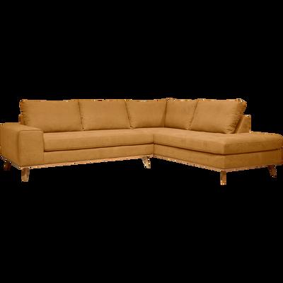 Canapé d'angle fixe droit en tissu jaune-PICABIA
