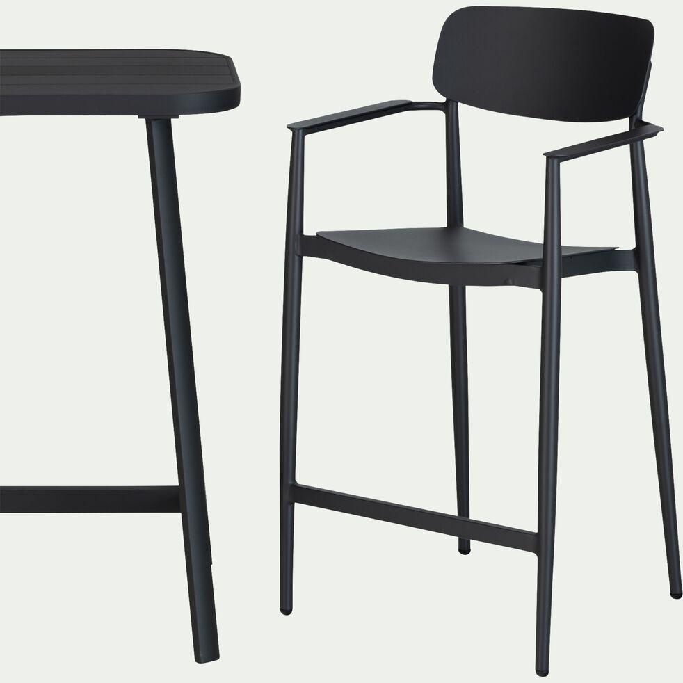 Table haute rectangulaire en aluminium - noir (2 à 4 places)-DOMINGOS