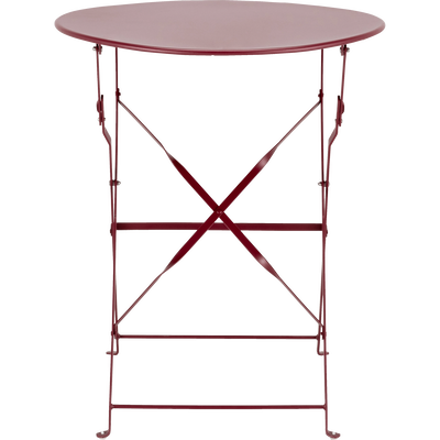 Table de jardin pliante rouge sumac D60cm (2 places)-PIMS