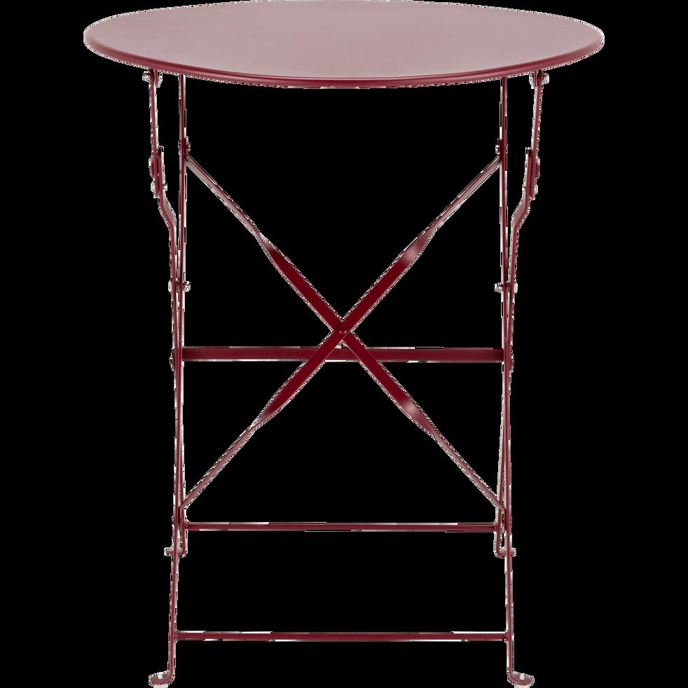 CERVIONE - Table de jardin pliante rouge sumac D60cm (2 places)