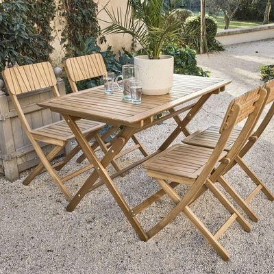 Table de jardin pliante en acacia huilée - naturel (4 à 6 places)-CARLO